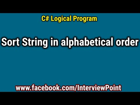 Sort String in alphabetical order in C# Program | string sorting program in C#.Net