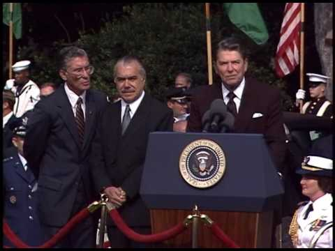 President Reagan at the Arrival Ceremony of President Sarney of Brazil on September 10, 1986