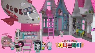 Jenny play 헬로키티 하우스 병원 비행기 장난감…