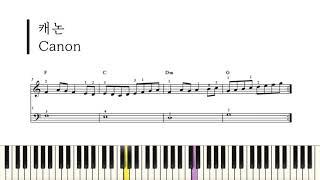 파헬벨의 캐논|손가락번호 있는 쉬운 피아노 악보 ★☆☆…