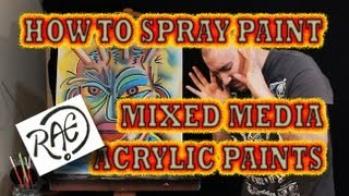 HOW TO SPRAY PAINT a Funky Graffiti ART FACE Mixed Media Tutorial using Acrylic Paints