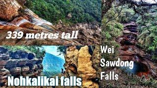 Trekking to the top of Nohkalikai falls & Wei Sawdong falls Sohra Meghalaya India-(part 2)🔥🔥