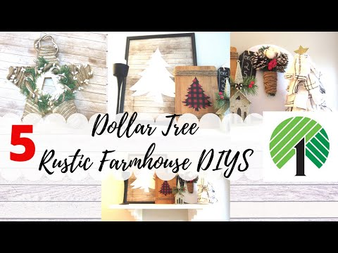 5 DOLLAR TREE CHRISTMAS DIYS | FARMHOUSE Star | BUFFALO CHECK SIGN| FABRIC TREE| Rustic Farmhouse