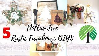5 DOLLAR TREE CHRISTMAS DIYS   FARMHOUSE Star   BUFFALO CHECK SIGN  FABRIC TREE  Rustic Farmhouse