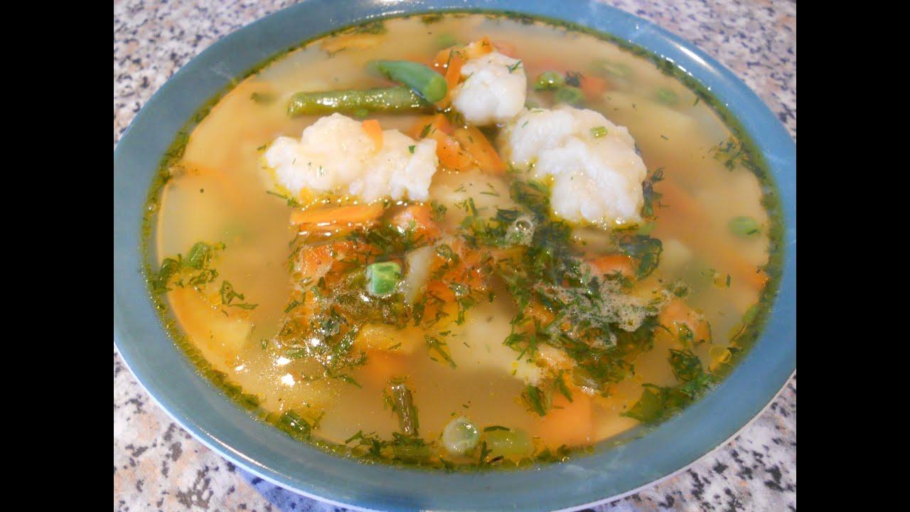 Лёгкий овощной суп с клёцками (галушками)