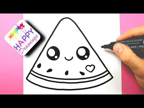 HOW TO DRAW DRAW A CUTE WATERMELON EASY - HAPPY DRAWINGS