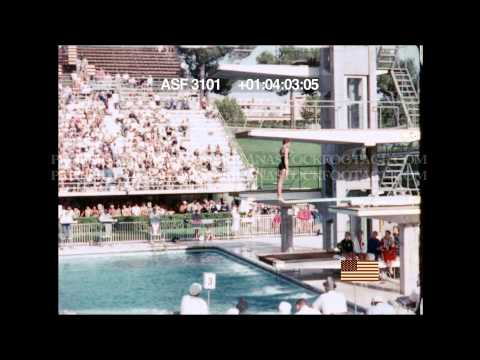 HD STOCK FOOTAGE  - 1960 Rome Olympics Female Diver Competition CLIP#2
