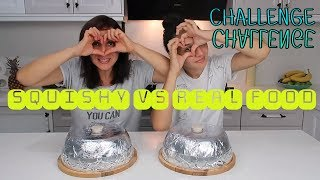 SQUISHY vs GERÇEK Yiyecek Challenge!! Squishy Food vs Real Food Challenge Bidünya Oyuncak