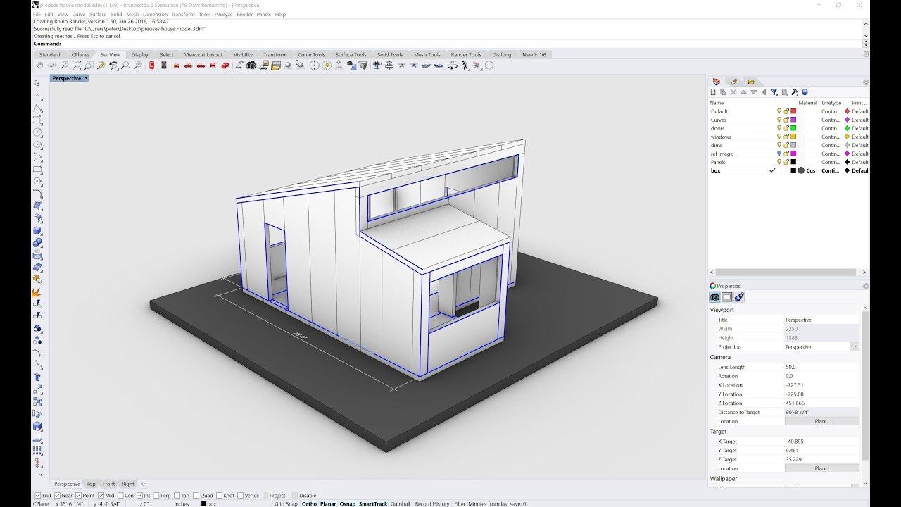 Rhino Precise House Model Curves Small Scale