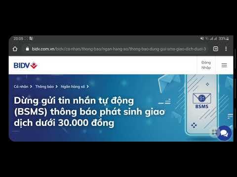 BIDV dừng gửi tin nhắn thông báo BĐSD dưới 30.000 và THÔNG BÁO BĐSD QUA OTT BIDV SMARTBANKING