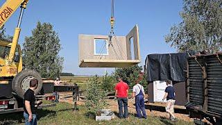 Это нереально! За пол дня построили Маленький Модульный Дом с плоской крышей за 40 тысяч рублей!