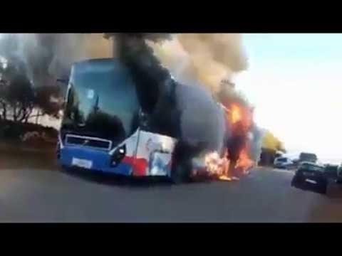 Incendie City Bus  Dkhissa Meknes إحتراق رهيب لحافلة مكناس
