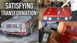 FULL EXTERIOR DETAIL - 30 Year Old Sun Faded VW Golf - Insane Transformation!