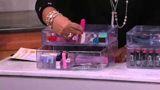 Set of 2 Clear Stacking Cosmetic Organizers by Lori Greiner on QVC