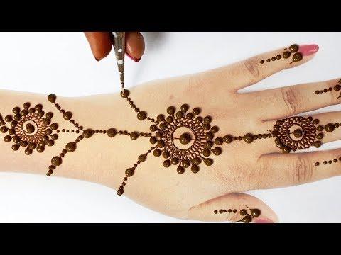 आसान मेहँदी डिज़ाइन - दिवाली स्पेशल आसान गोल टिक्की मेहँदी लगाना सीखे -New Jewelry Diwali Mehndi 2019