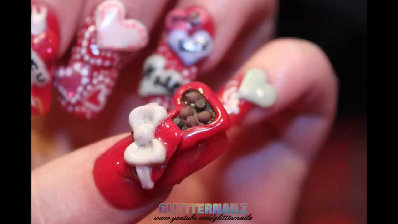 Valentines Acrylic Nail Tutorial 2 3d Candy Box Hearts Youtube