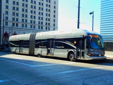 Cleveland RTA: HealthLine (Bus Rapid Transit) to Public Square.... FULL RIDE!