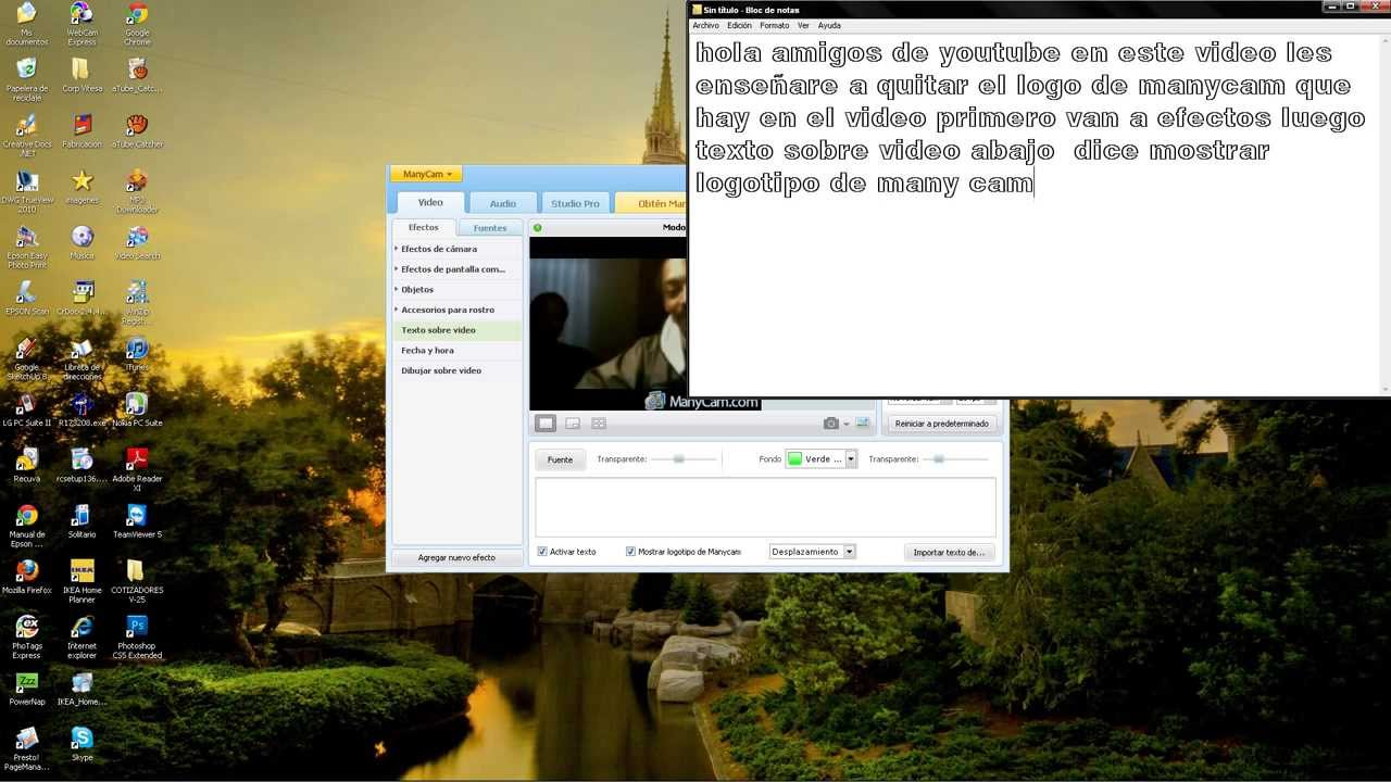 Como quitar las letras de manycam.com en el video facil y ...