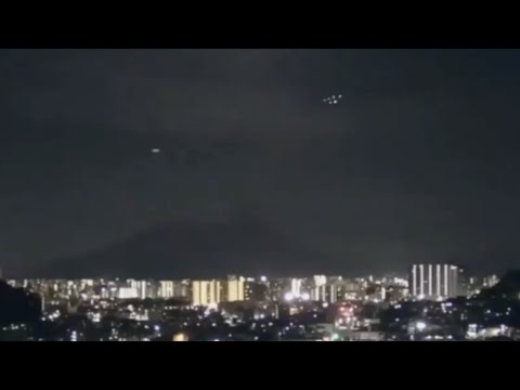 Multiple Strange Glowing Lights in Group Formation over Sakurajima Volcano in Kagoshima City (Japan)