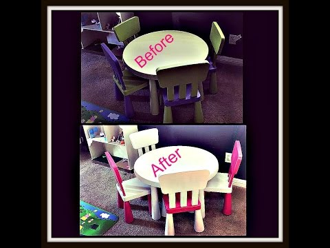 DIY Painting kids table and chairs