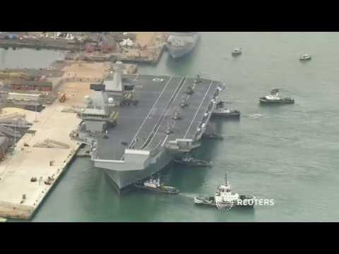 Britain's new aircraft carrier 'Queen Elizabeth' arrives in Portsmouth