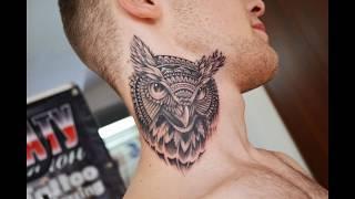 Тату салон в Усть Каменогорске татуировка сова на шее