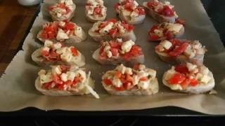 Kochtipp - überbackenes Bruschetta mit Mozzarella