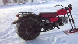 Самодельный снегоход-байк двухопорный с передней лыжей