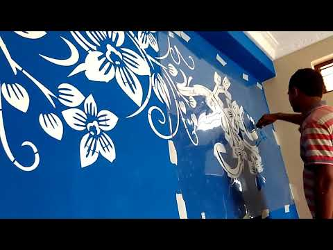 Wall stencil painting