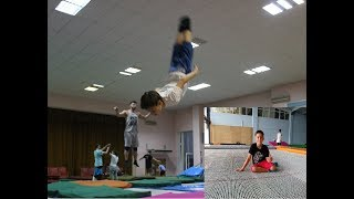 Jumping Hall. Acrobatic event by Berzin. Trampoline.