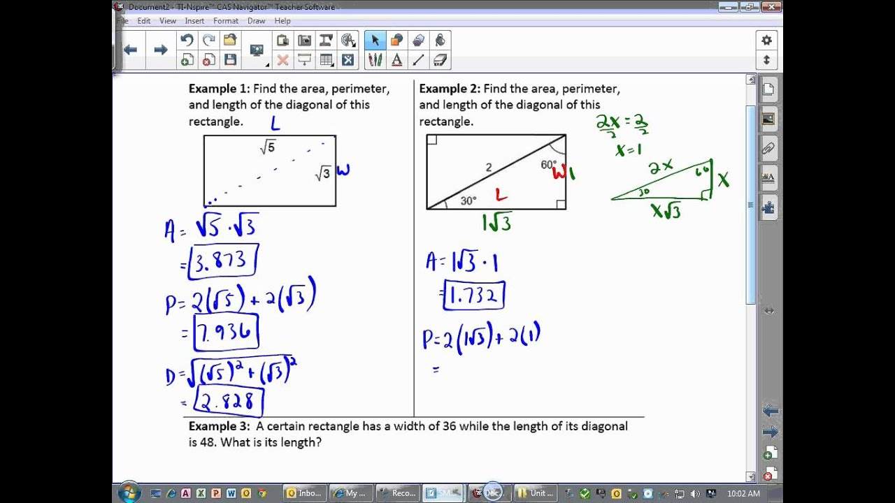 Geometry Lesson 91 Rectangle Area, Perimeter, And Diagonal Almost There  Mhkitolkth Calculate