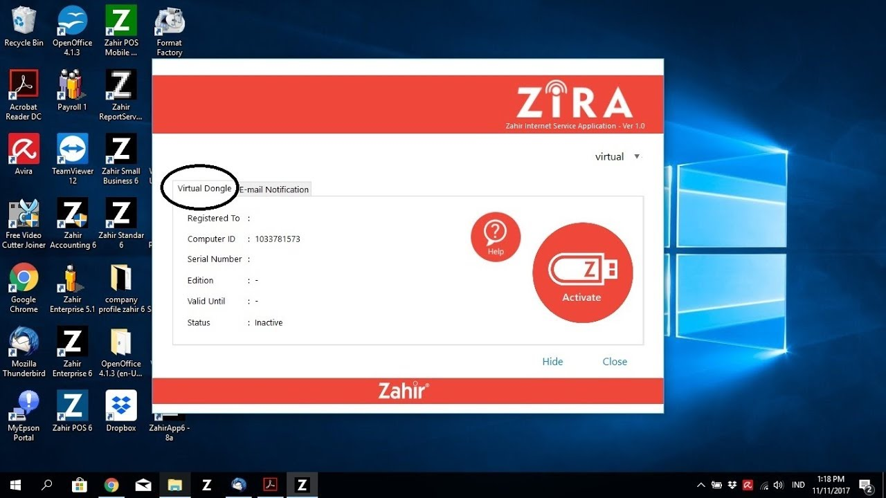 Virtual Dongle, New Registrasi Zahir Accounting 6