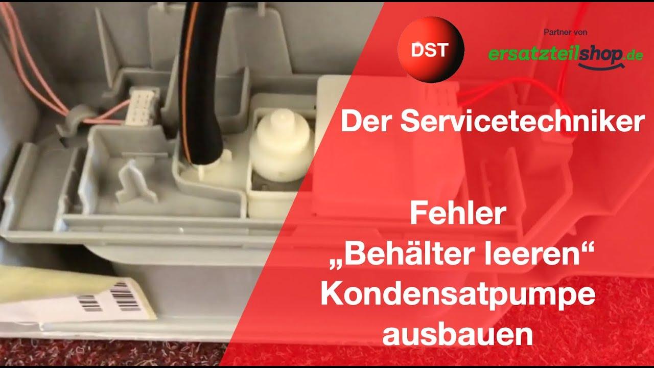 Bosch siemens wärmepumpentrockner behälter leeren wird angezeigt