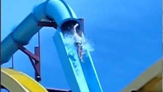 NEAR DEATH Waterslide Accident: Launch and Fall