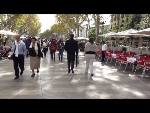 A Walk along La Rambla of Barcelona from Pl. Catalunya to th