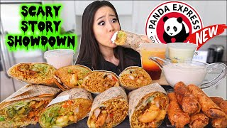 New! PANDA EXPRESS BURRITOS! + Lo Mein, Eggrolls, Orange Chicken, & SHRIMP MUKBANG 먹방 | Eating Show