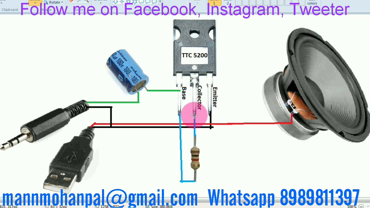 Audio Amplifier Circuit using transistor 5200 by Manmohan Pal