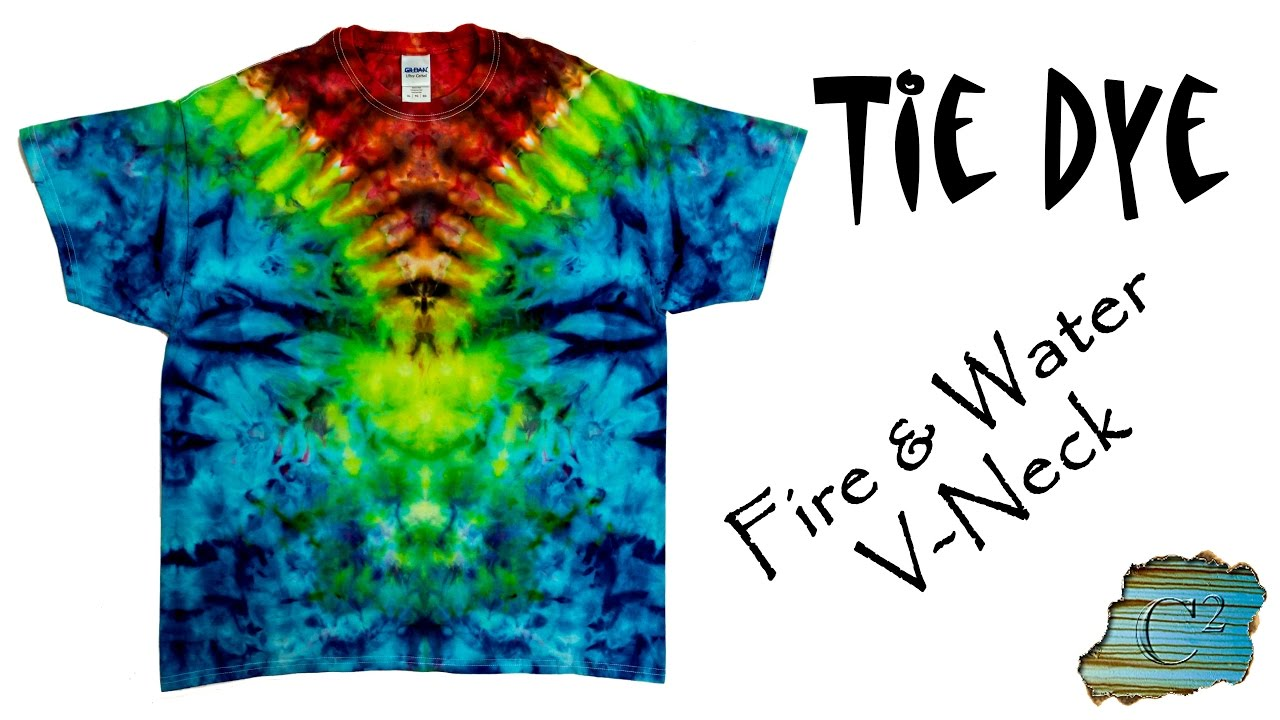 ffc4d683824595 How to Tie Dye a Fire   Water V-Neck Pattern - YouTube