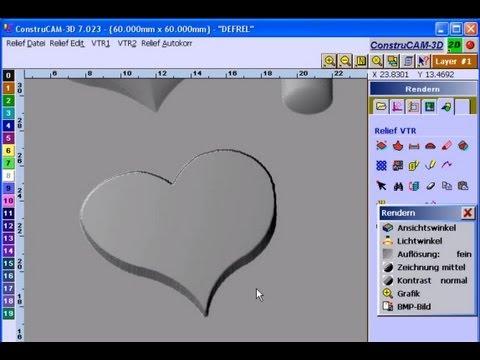 3D-CAD/CAM Software .stl-Objekte aus Vektorgrafiken für 3D-CNC-Fräsmaschinen-Relief-Erstellung
