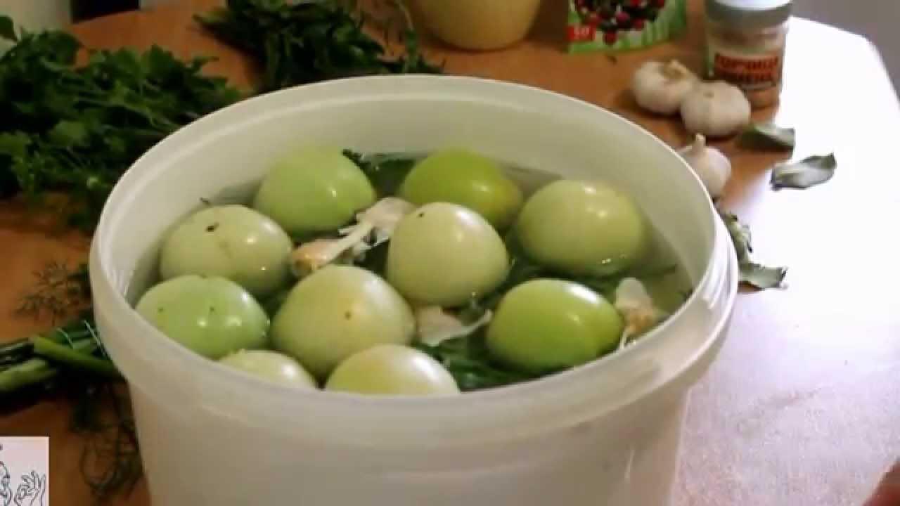 Засолить зеленые помидоры на зиму
