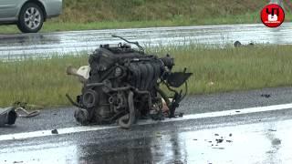 Полная версия. Авария на трассе М-53 в районе посёлка Емельяново в столб въехал Ford Focus