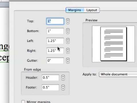 Use 1 Inch Margins in Word 2011 for Mac