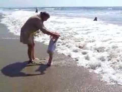 Mom and Megan at Santa Monica beach
