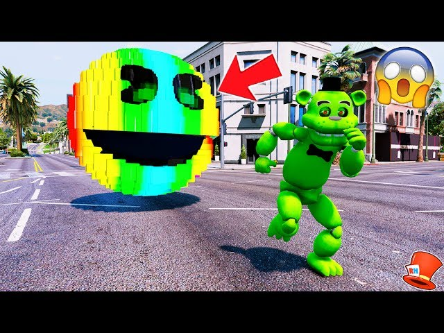 GIANT RAINBOW PACMAN vs SLIME FREDDY! (GTA 5 Mod For Kids FNAF RedHatter)