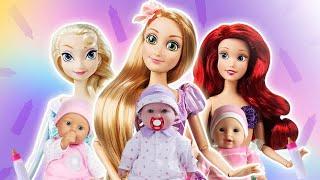 👶 Rapunzel Elsa y la Sirenita MADRES POR UN DÍA!! Princesas Disney