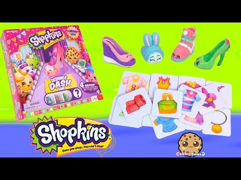 Season 2 + 3 Shopkins Designer Dash Game With 4 Exclusives Toys - Cookieswirlc Review Video