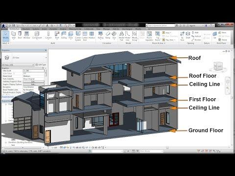BIM - Revit 3D Tutorial for Beginners 6of10, Adding Floor, False Ceiling, & Roof