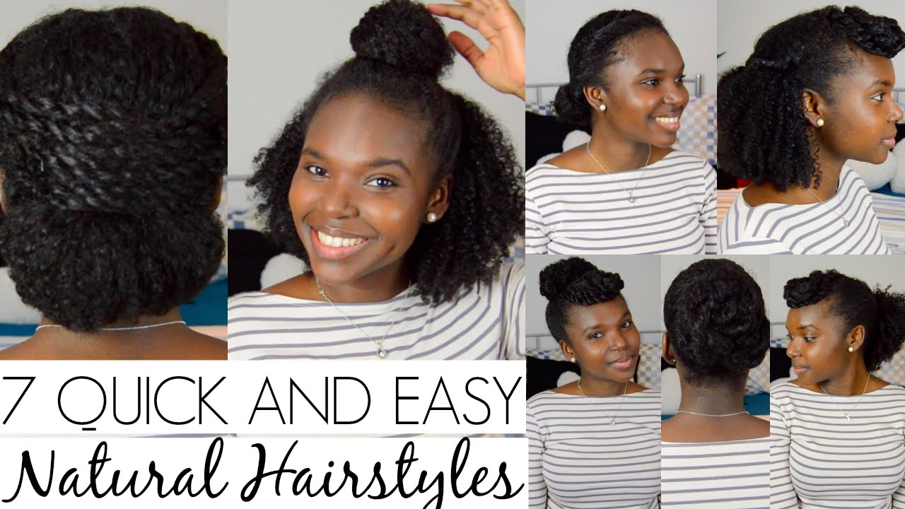 7 Quick And Easy Hairstyles For Natural Hair Youtube