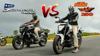 2017 KTM Duke 250 vs Bajaj Dominar 400| Drag race n exhaust note.