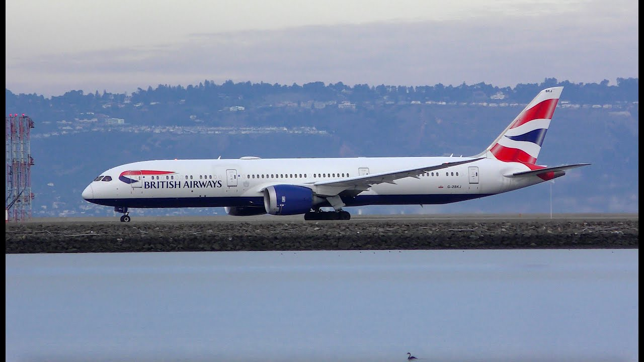 BRITISH AIRWAYS Boeing 787 Dreamliner with Rolls Royce Trent 1000 engines takes off from SFO